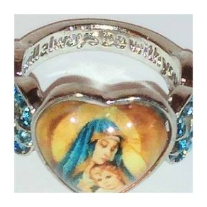 Women's Engraved Blessed Virgin Mary Silver Ring